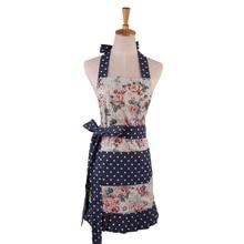 Neue Frauen Restaurant Home Küche schürze Blumen Und Blätter Gedruckt Tasche Spitze Kochen Baumwolle Schürze Frauen-qualitäts-plissee Schürze