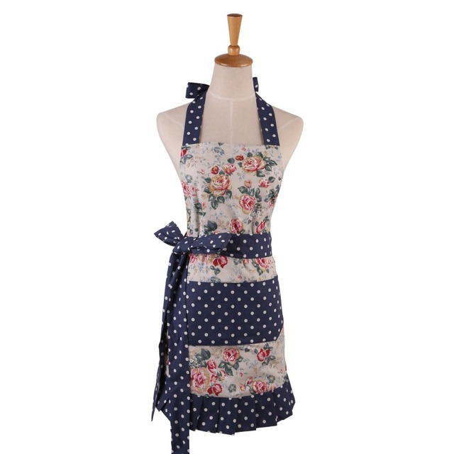 New Women Restaurant Home Kitchen Apron Flower And Leaves Printed Pocket  Lace Cooking Cotton Apron High