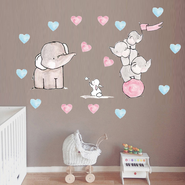 Cartoon Elephant Rabbit Wall Sticker Cute Funny Animal Pattern For Baby Room Decorations Living