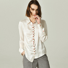 100% Silk Blouse Women Shirt Wave Threshold Design Turn down Neck Long Sleeve 2 Colors Casual Style Plus Size New Fashion 2019