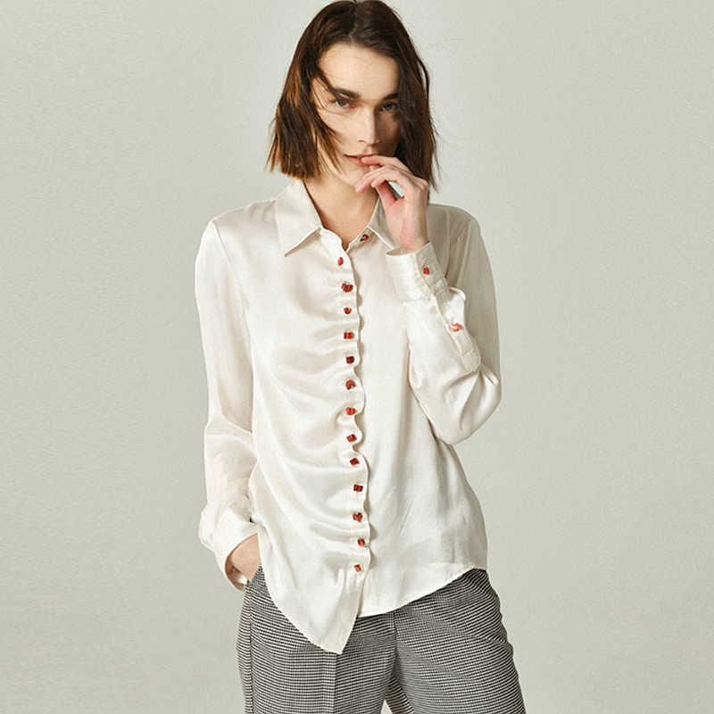0f93866c 100% Silk Blouse Women Shirt Wave Threshold Design Turn-down Neck Long  Sleeve 2