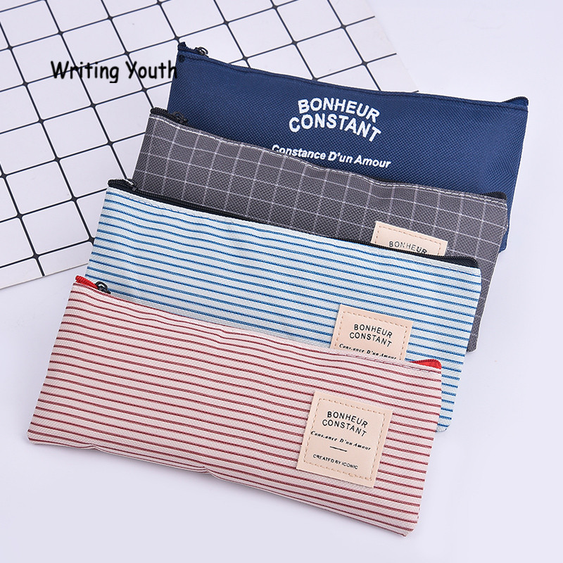 Simple Lattice Series Canvas Material Pencil Case Gift Office School Pencil Box Pencil Bag School Su