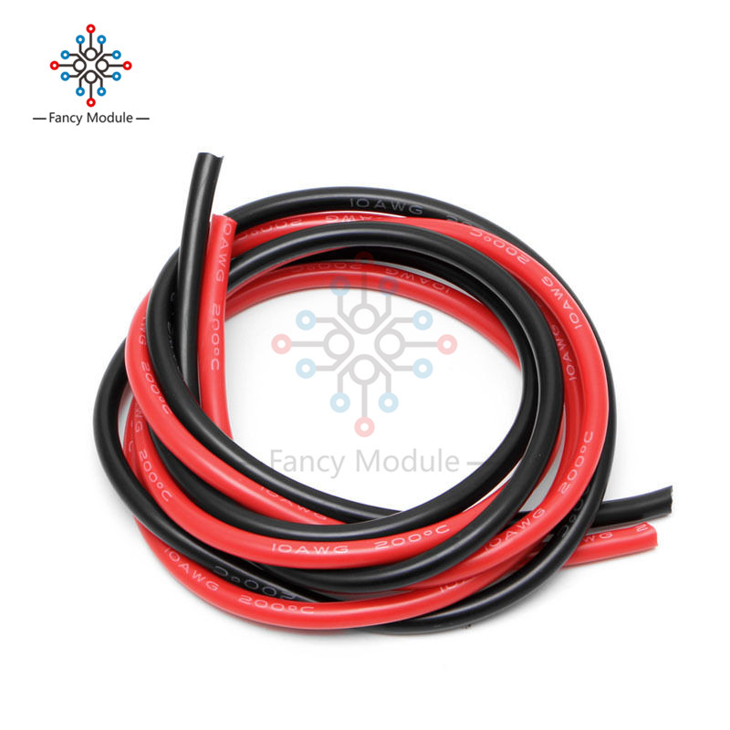 10 AWG Gauge Wire Silicone Flexible Copper Stranded Cables For RC Black Red 10 awg gauge 2m wire silicone flexible copper stranded cables for rc black red b116