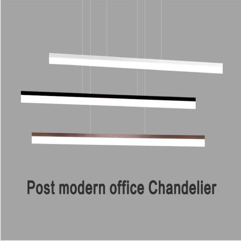 L прямая полоса светодиодный офисное освещение люстра креативный современный акриловый Конференц-зал проект слово подвесная линия светодиодный светильник