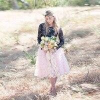 Fashion Tiered Ruffles Tulle Skirt Personalized Knee Length Blush Pink Chic Midi Tutu Skirt Galas Garden Bridal Tulle Skirt