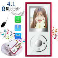Bluetooth 4.1 4GB MP4 Flac Music Video Player TXT E Book FM Radio MP 4 Media With Earbuds 3.5mm earphone Jack Mini USB Cable