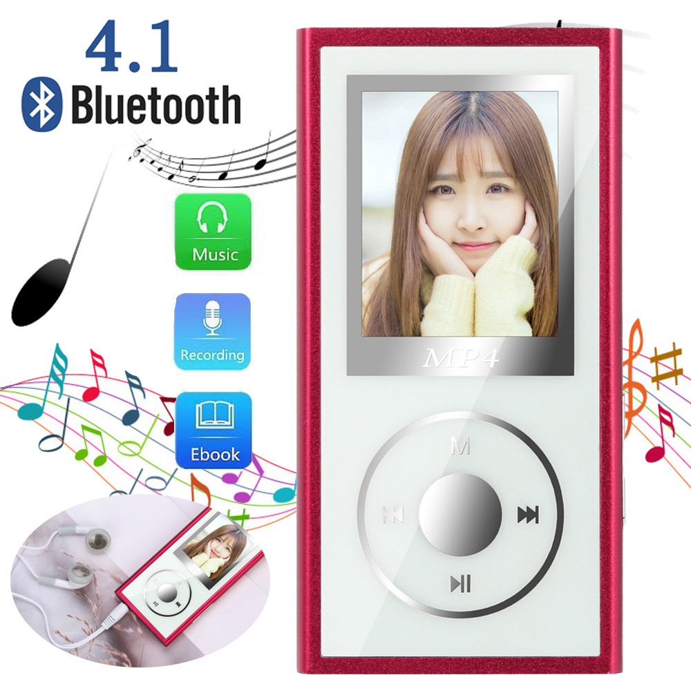 Bluetooth <font><b>4</b></font>,1 <font><b>4</b></font> GB MP4 Flac Musik Video <font><b>Player</b></font> TXT E-buch FM Radio <font><b>MP</b></font> <font><b>4</b></font> Media Mit Ohrhörer 3,5mm kopfhörer Jack Mini USB Kabel image