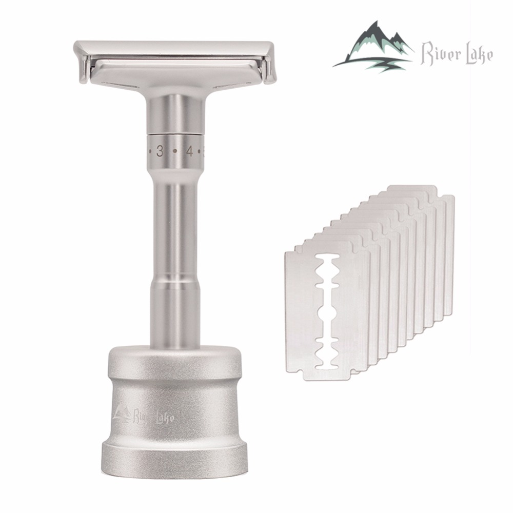 Adjustable Safety Razor Mens Shaving Double Edge Classic Safety Razor Blade Exposure Six Levels Shaver Formen1 Handle 10 Blades