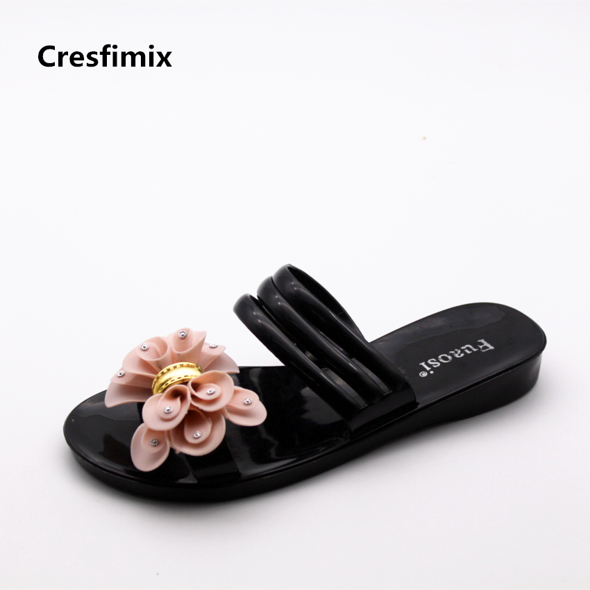 Cresfimix women fashion black slip on slippers lady casual soft & comfortable slippers lady waterproof floral print flip flops simple satin and floral print design slippers for women
