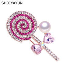 SHDIYAYUN New Pearl Brooch Rinestone Lovely Lollipop Brooch Simple Pins for Women Natural Freshwater Pearl Jewelry Dropshipping цена и фото
