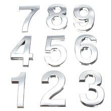 Продажа 5 см 3D цифры 0-9 номер Наклейка табличка знак отель серебристый номер двери доска современный покрытый дом домашний декор