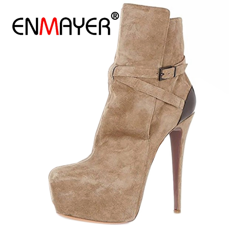 ENMAYER Brand Women Ankle Boots 2018 Pointed Toe 4.75 Inches Chunky High Heels Black Gray Gold White Shoes US Size 5-15 CR482 enmayer high heels pointed toe spring