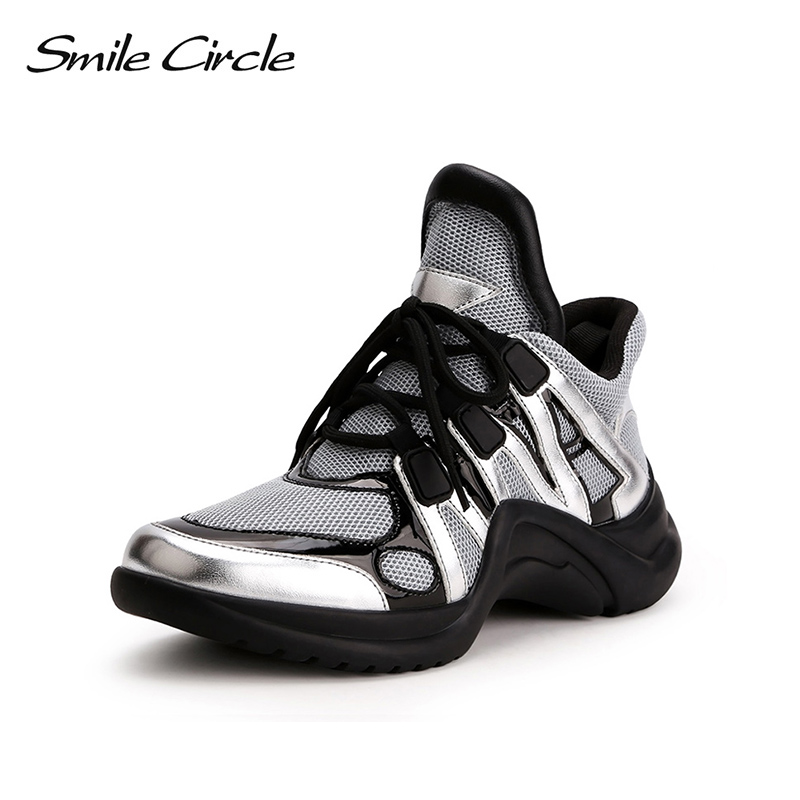 Smile Circle Spring Autumn Sneakers Women Breathable Lace-up Flat platform shoes for women Outdoor casual shoes Sneakers 2018 smile circle spring autumn women shoes casual sneakers for women fashion lace up flat platform shoes thick bottom sneakers