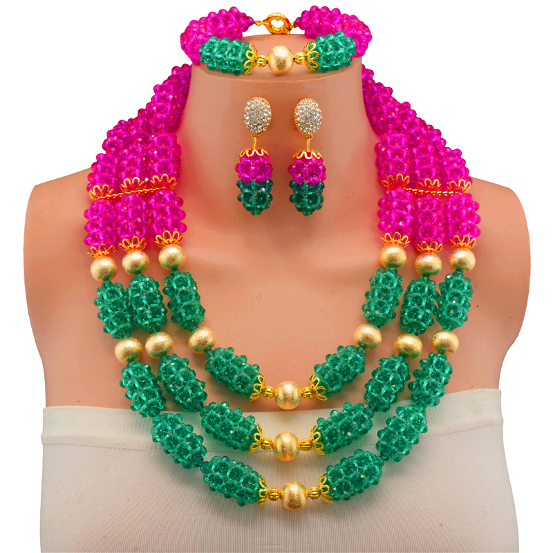 2017 New Fashion Rose Malachite Green African Beads Jewelry Set 3 Rows Nigerian Wedding Jewelry Set Available in Other Color classical malachite green round shell simulated pearl abacus crystal 7 rows necklace earrings women ceremony jewelry set b1303