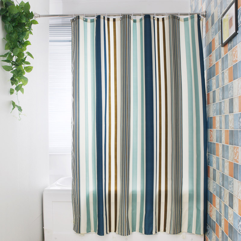 2018 Beautiful Green Striped Shower Curtain Polyester Mildew Resistant Bath Waterproof Fresh Bathroom Wholesale