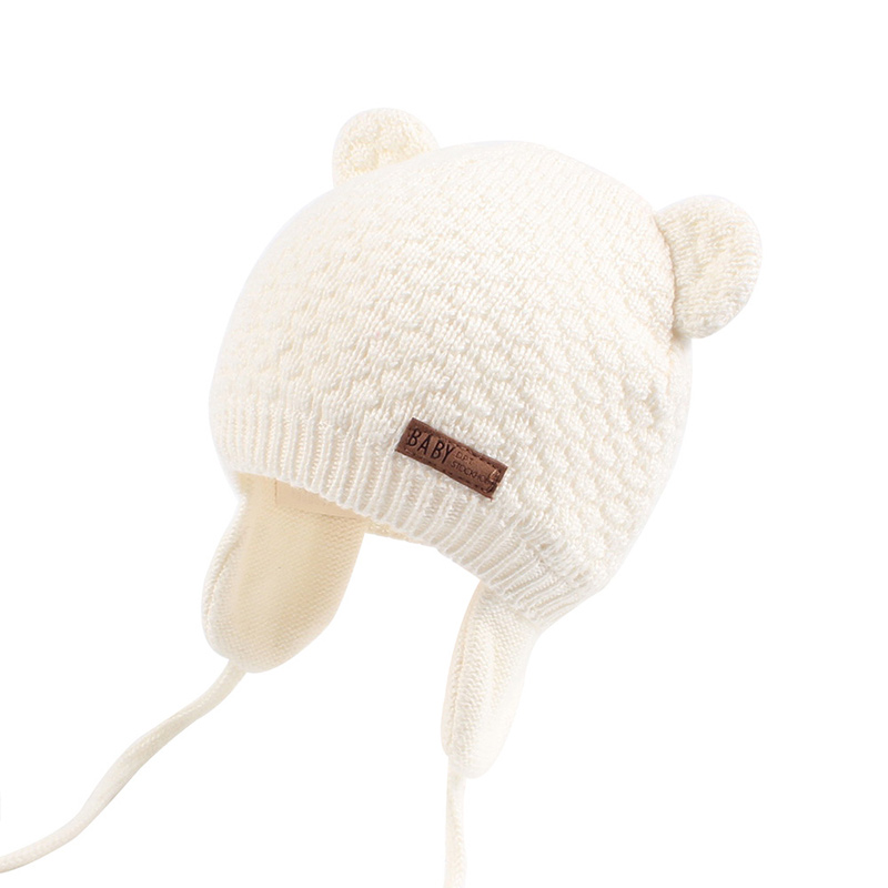 8902025be57 ... Bear Ears Cute Baby Hat Soft Cotton Newborn Baby Beanie Double Layer  Warm Winter Hat For ...