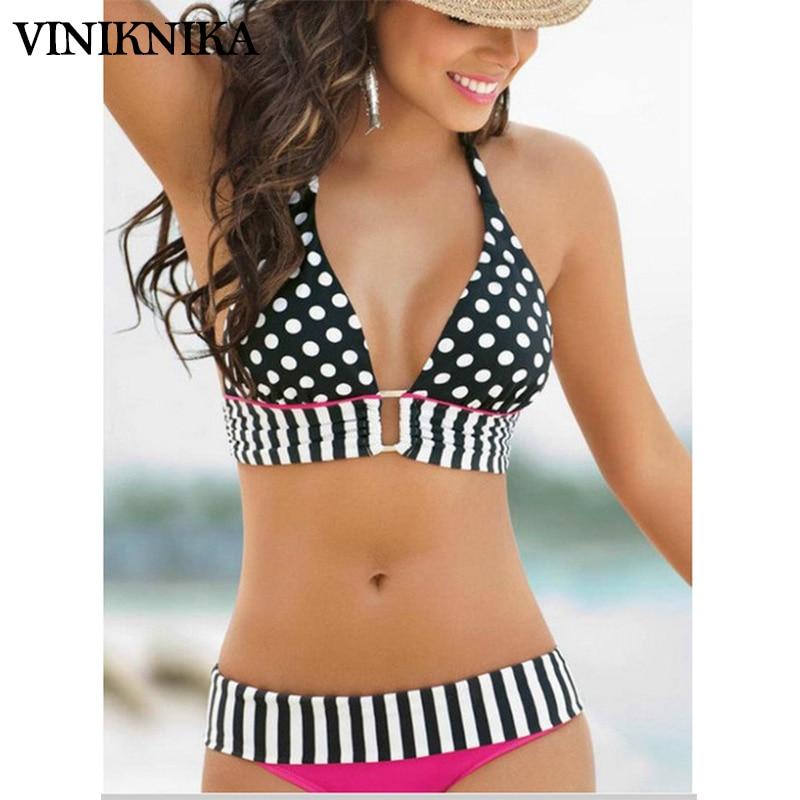 VINIKNIKA 2019 Kvinnor Retro Vintage Sexig Hög Medel Bikinis Set - Sportkläder och accessoarer
