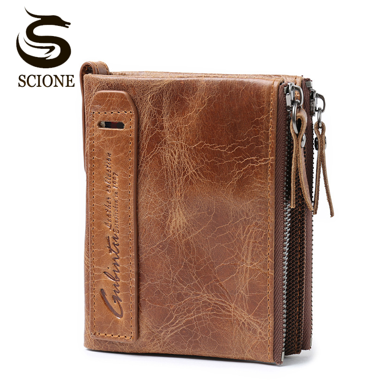 Genuine Leather Mens Purse Crazy Horse Leather Wallet Clutch Short Coin Purse Small Vintage Wallets Brand Designer Mini carteira