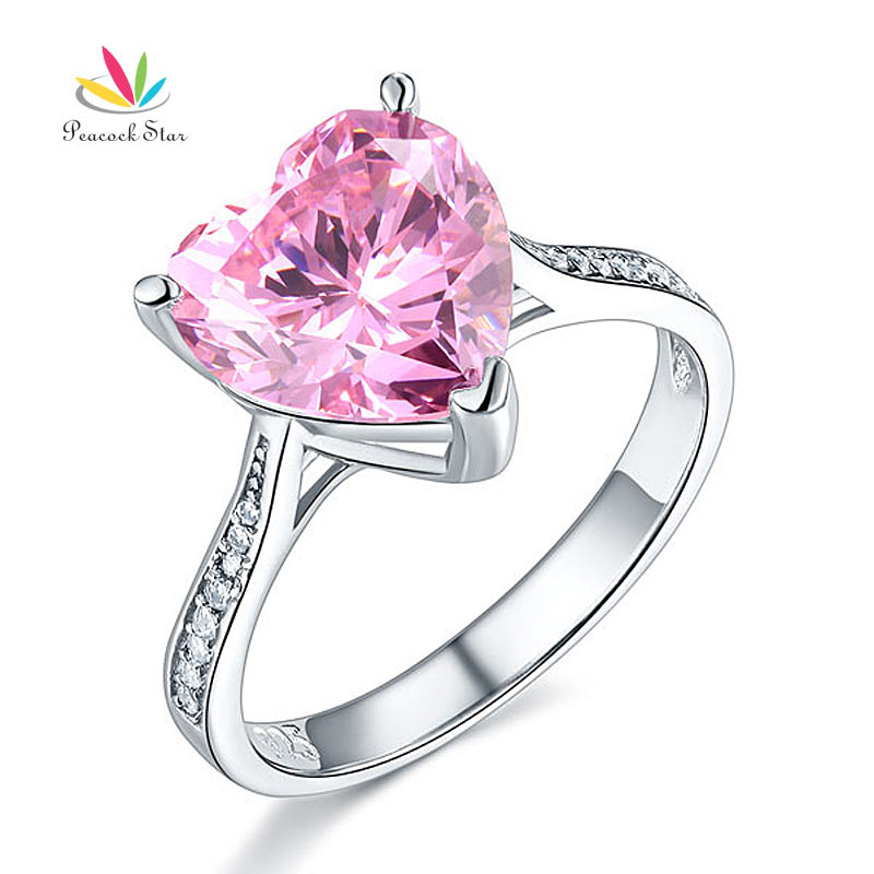 Peacock Star 3.5 Ct Heart Fancy Pink Wedding Promise Engagement Ring Solid 925 Sterling Silver Jewelry CFR8216 peacock star solid sterling 925 silver bridal wedding promise engagement ring set 2 ct pear jewelry cfr8224