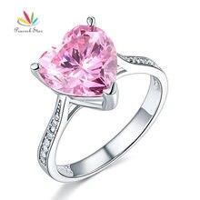 Павлин Star 3.5 ct сердце фантазии розовые свадебные Обещание Обручение кольцо Solid 925 стерлингов Серебряные ювелирные изделия CFR8216