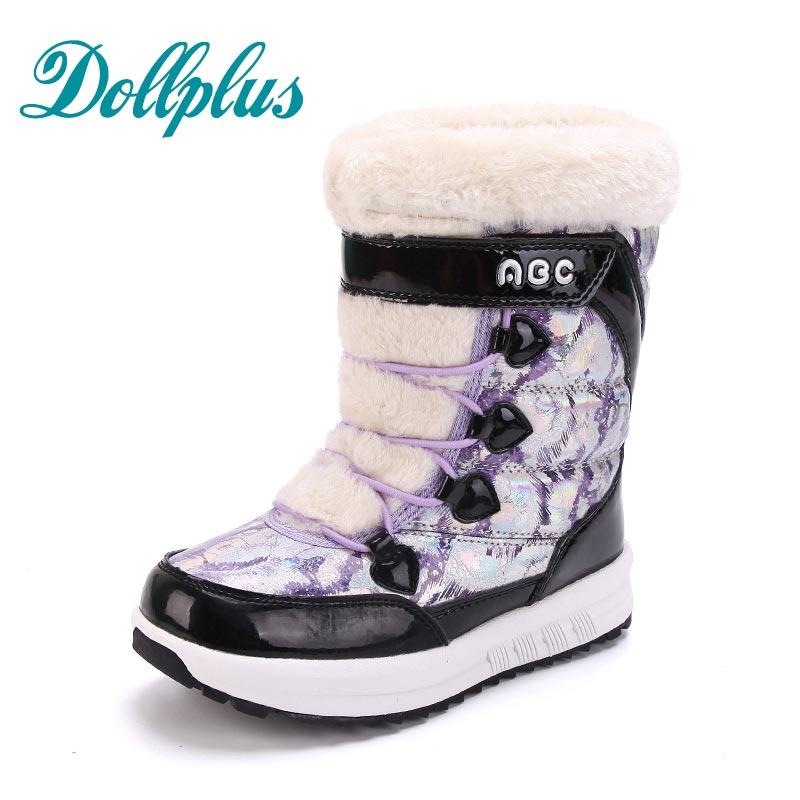 2017 NEW Winter Baby Girls Warm Snow Boots Kids Boots Fashion children boots  Waterproof Non-Slip Girls Shoes Eur Size 31#-37 2017 new top quality children boots boys girls boots child snow boots warm cotton padded girls shoes slip on mid calf kids boots