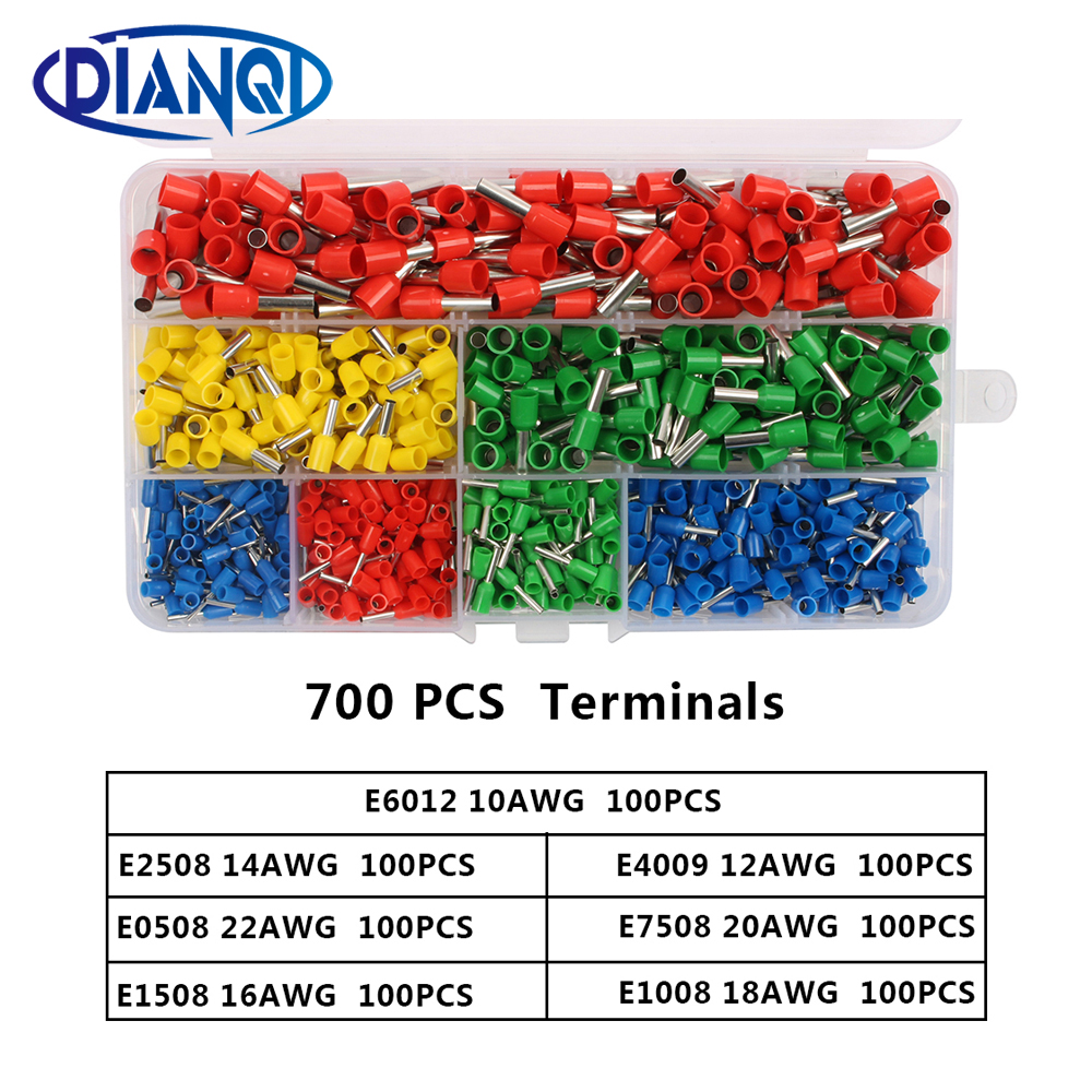 700pcs/set 22-10AWG Wire Copper Crimp Connector Insulated Insulated Cord End Cable Wire Terminal Kit DIY brass DIANQI700pcs/set 22-10AWG Wire Copper Crimp Connector Insulated Insulated Cord End Cable Wire Terminal Kit DIY brass DIANQI