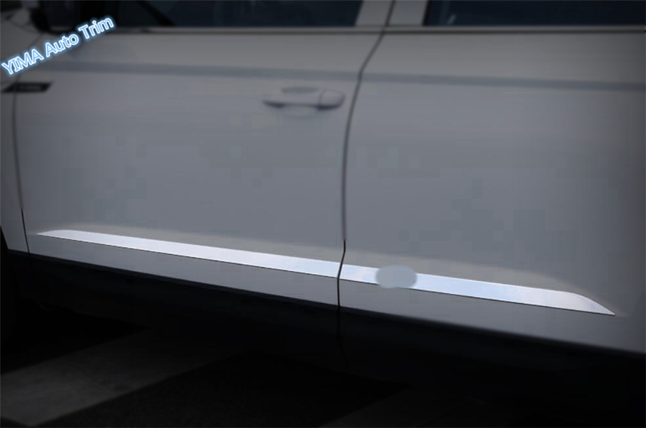 Lapetus For Skoda Karoq 2018 Stainless Steel Auto Styling Outside Car Door body Molding Bottom Protection Strip Cover Trim Kit stainless steel door side body garnish molding cover trim for toyota rav4 2014 2017 exterior decor strip car styling accessories