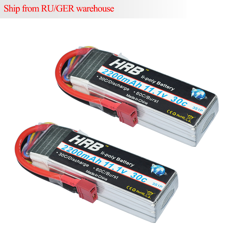 2pcs HRB <font><b>Lipo</b></font> <font><b>3S</b></font> Battery 11.1v <font><b>2200mAh</b></font> 30C MAX 60C RC <font><b>Bateria</b></font> AKKU For Trex-450 Fixed-wing RC Helicopter Car Boat Quadcopter image
