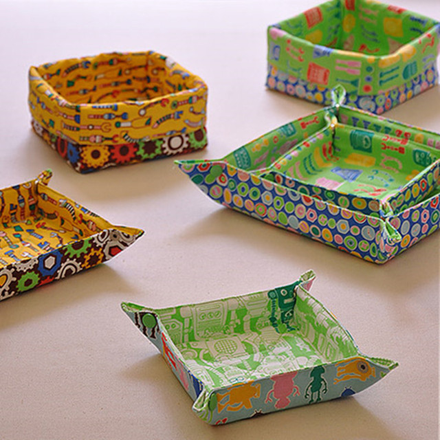 Lovely Cartoon Prints Cloth Storage Trays Creative Multi Use Table Organizer For Sundries Keys Box Placemats Seat Mats
