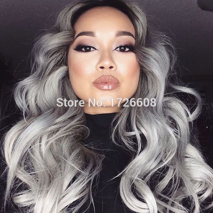 Royal 1set Gray Clip in Hair Weaving Curly Grey Gradient Hair Extensions Full Head Cosplay Synthetic Hairpiece Hair Accessories gorros femininos