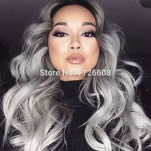Royal 1set Gray Clip in Hair Weaving Curly Grey Gradient Hair Extensions Full Head Cosplay Synthetic Hairpiece Hair Accessories(China)