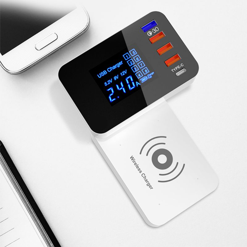 QI Wireless Charger Quick Charge 3.0 Smart USB Type C Charger Station HUB Led Display Fast Charging Power Adapter Desktop Strip