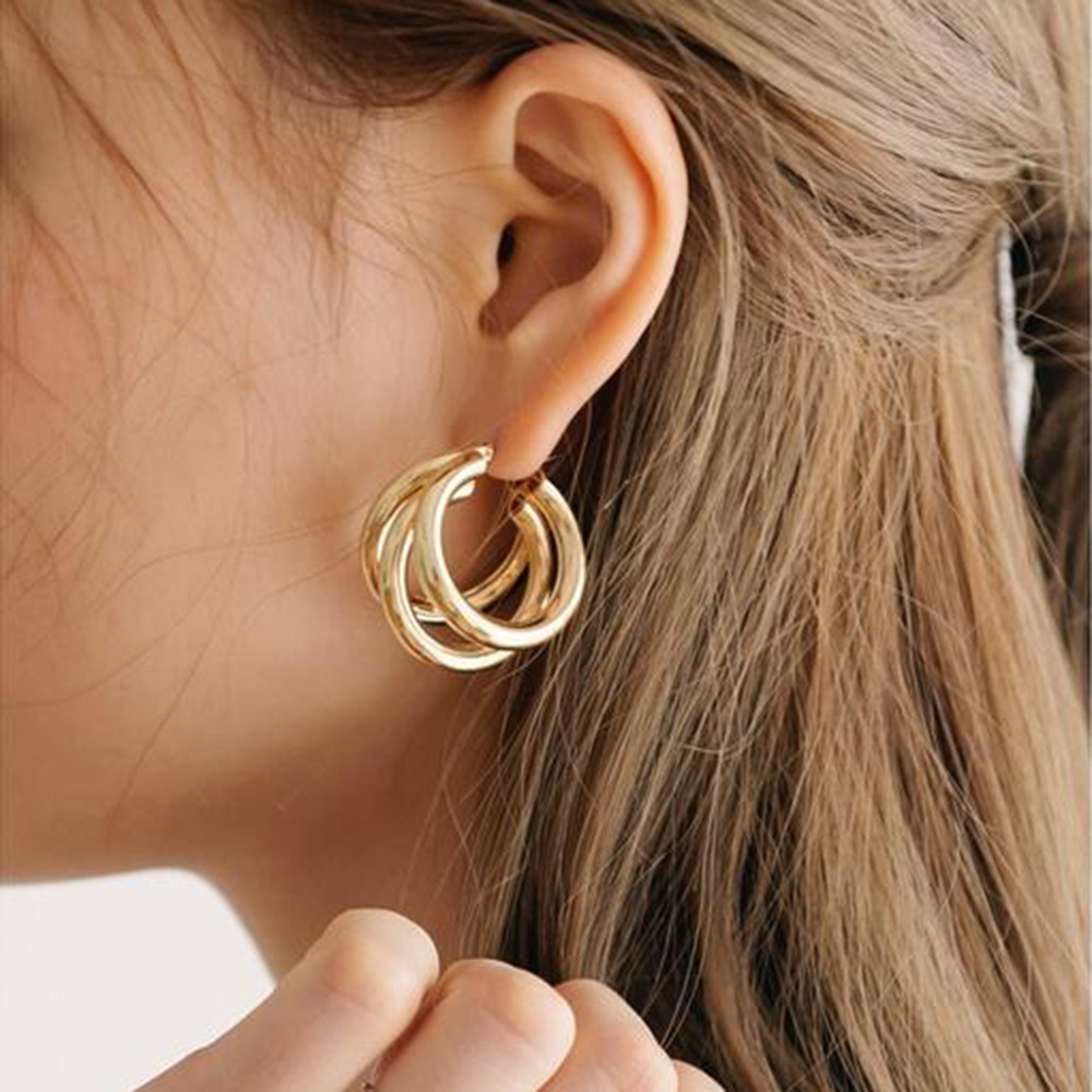 Punk Gold Silver Colour Colour Circle Alloy Earrings For Women Vintage Geometric Statement Earrings Bohemian Fashion Jewelry