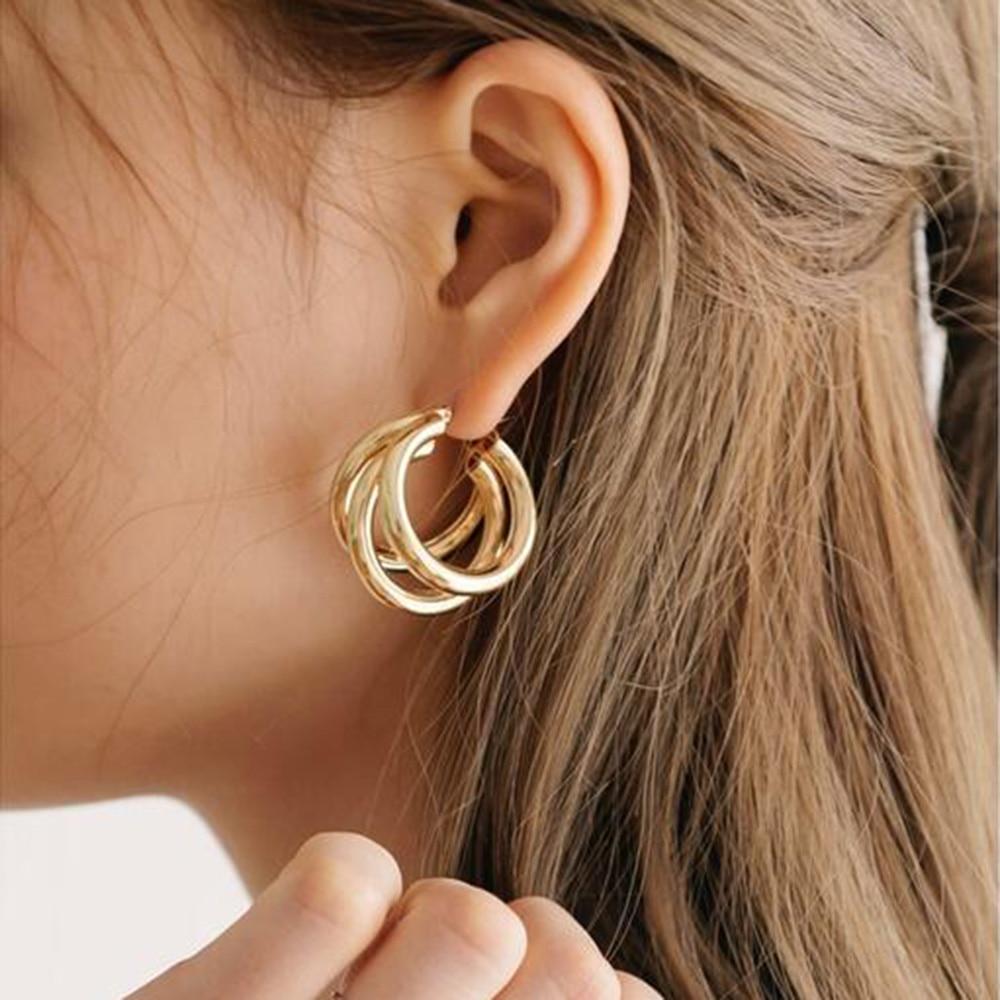 2019 Punk Gold Silver Colour Circle Alloy Earrings For Women Vintage Geometric Statement Earrings Bohemian Fashion Jewelry