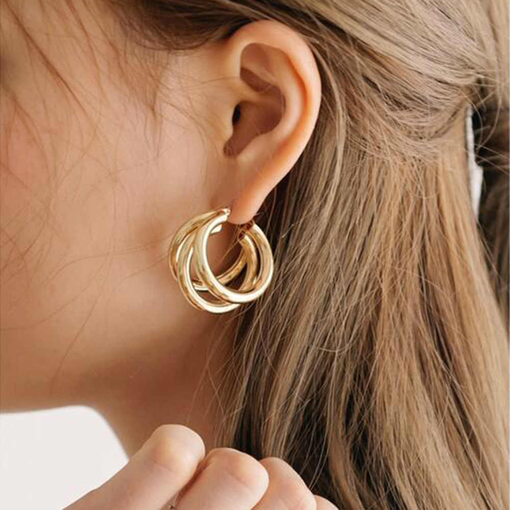 b02a9f0c79daa 2019 Punk Gold Silver Colour Circle Alloy Earrings for Women Vintage  Geometric Statement Earrings Bohemian Fashion Jewelry