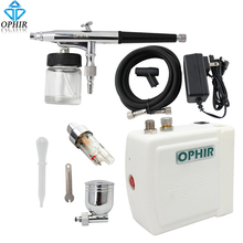 OPHIR 0.3mm Dual Action Airbrush Kit with Air Compressor Cake Airbrush Kit Nail Art Paint Mahine Makeup Tools#AC003H+AC005+AC011