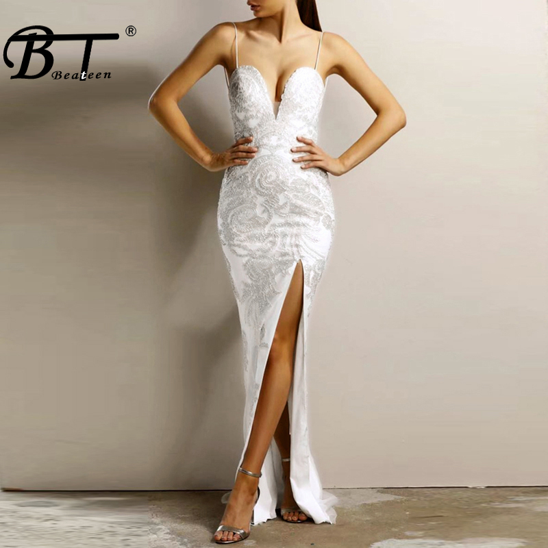 Beateen <font><b>White</b></font> Lace Embroidery Floral Bandage Gown <font><b>2018</b></font> <font><b>New</b></font> <font><b>Fashion</b></font> Mesh Patchwork Split <font><b>Sexy</b></font> <font><b>Backless</b></font> <font><b>Dress</b></font> Ankle-Length image