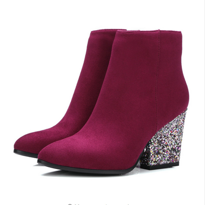 ФОТО Size 34-43 Spring Autumn Sequins Women Ankle Boots Flock Thick High Heel Short Boots Ladies Rhinestone Shoes