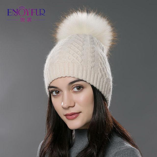 ENJOYFUR Winter fur pompom hat for women cashmere wool cotton hat Big Real  Raccoon fur pompom Beanies cap Fox fur bobble hat ed560f5df58