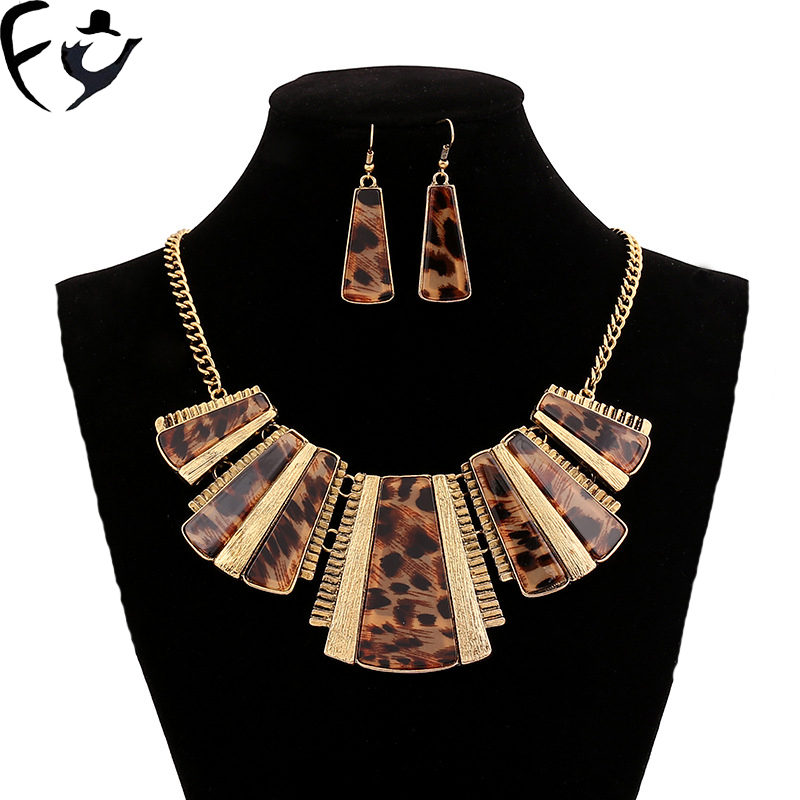 Personality Exaggeration Acrylic Leopard Print Crystal Necklace Earring Jewelry Set