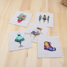 Mão tingido 5 assorted cotton linen impresso quilt tecido para diy costura patchwork home textile decor/ipad bag9.5 * 9.5 cm pena