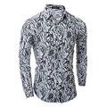 Long Sleeve Shirt Men Fashion Printed Floral Shirt Men Casual Slim Fit Camisa Turn-Down Collar Mens Dress Shirts Chemise 2XL