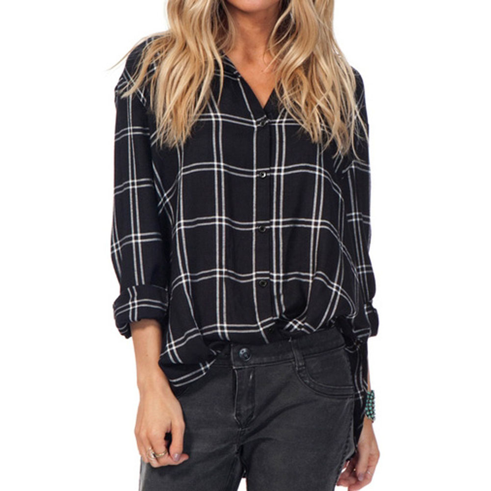 Online Buy Wholesale womens black grid shirt from China womens ...