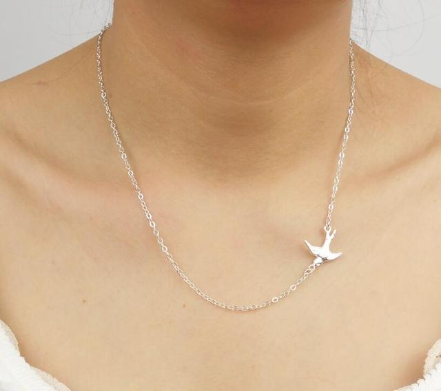 Silver plated retro sparrow necklace swallow bird centered delicate silver plated retro sparrow necklace swallow bird centered delicate women necklace aloadofball Images