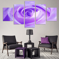 5 Panel Modern Canvas Painting Picture Purple Rose Printed Flower Painting For Living Room No Frame