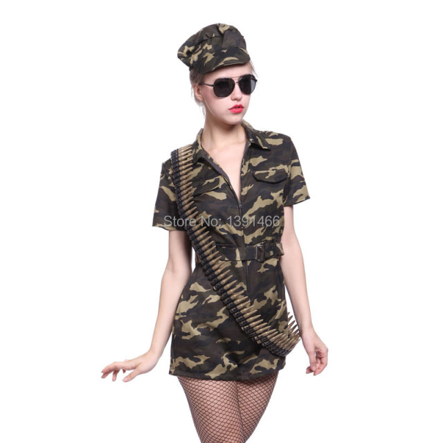 a3403ba2f65 US $16.99 |Womens Ladies Camouflage Combat Girl Army Military Soldier Fancy  Dress Costume Party Dress-in Sexy Costumes from Novelty & Special Use on ...