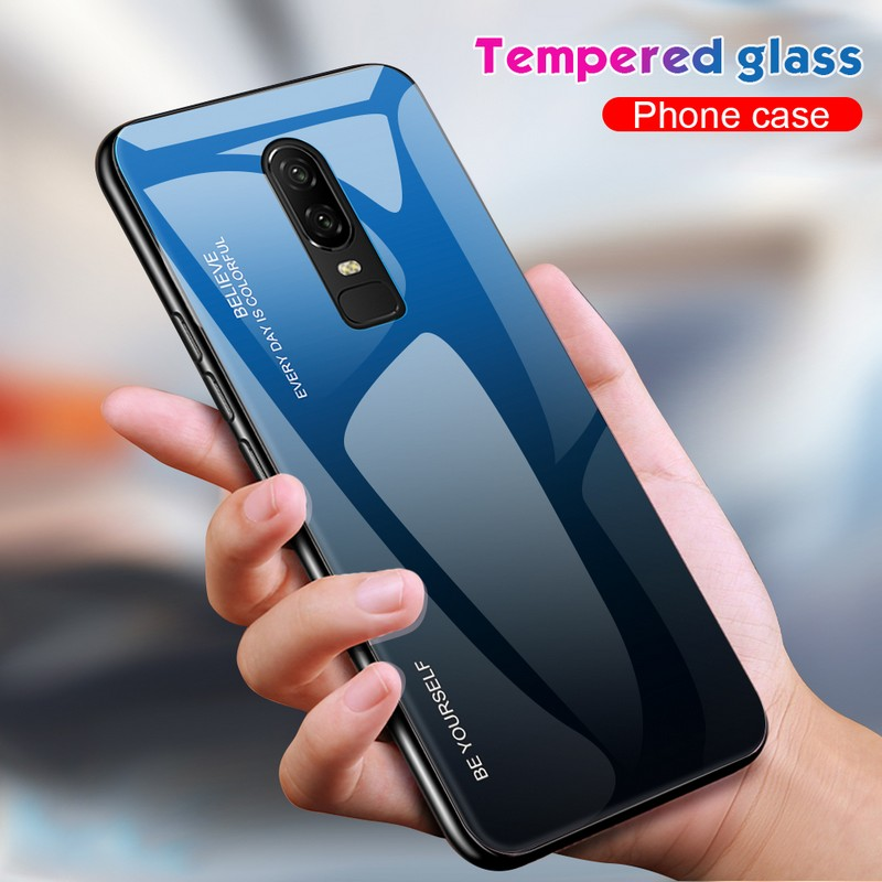Oneplus 6 6t case cover oneplus 6 tempered Glass fashion luxury gradient case one plus 6 cover oneplus6 soft silicon edge case