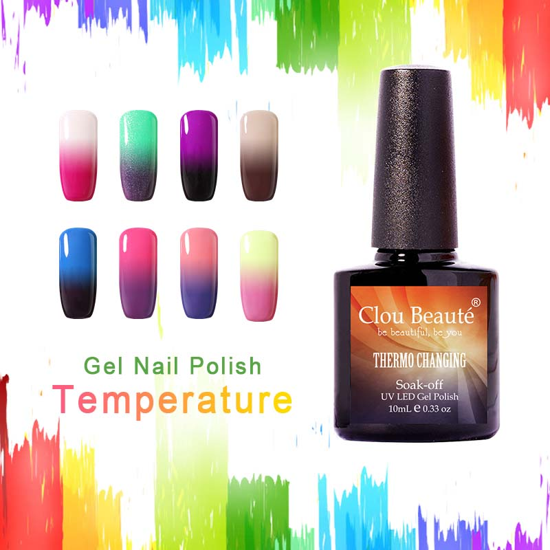 Jualan Hot 10ml Clou Beaute Suhu Tukar Nail Polish Varnish UV Gel Aksesori Kuku Pilih 1 Warna Gel Poland Rendam Off