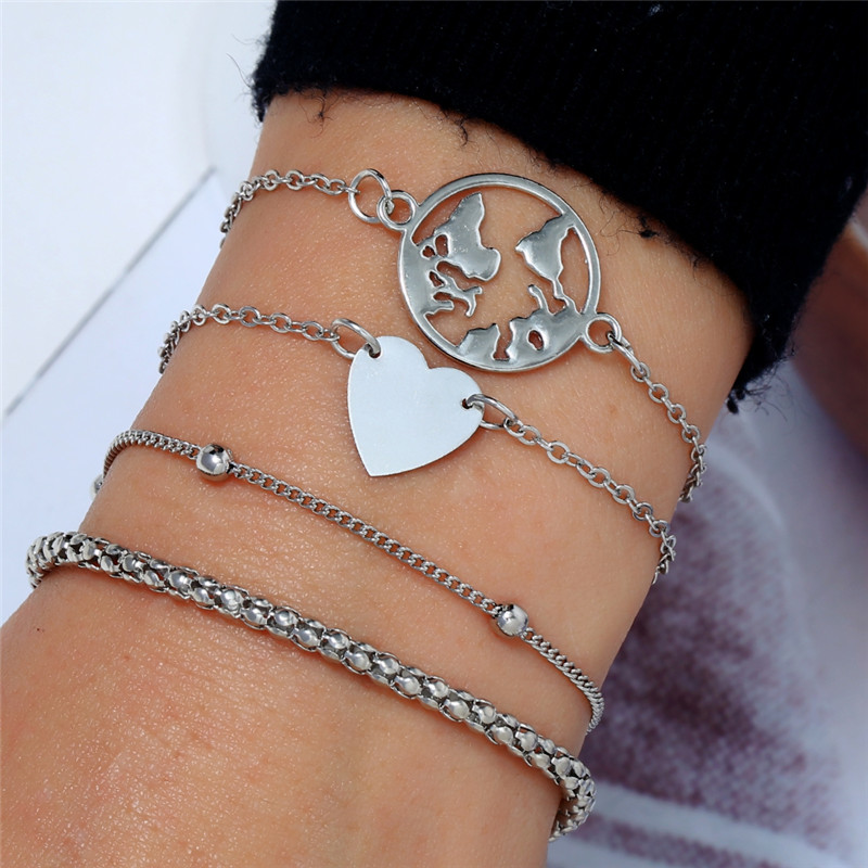 4pcs/Set 2019 New Retro Hipster Bead Round Screw Chain Multilayer Silver Bracelet Set For Women Look Slim Bangle  Party Jewelry