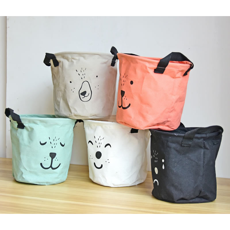 Cute Animal Collapsible Toy Storage Organizer Folding: Cute Animal Baby Expression Toys Storage Canvas Bags
